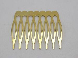 10-Gold-Blank-Metal-8-Teeth-Hair-Comb-42mm-For-Bridal-Hair-Accessories-DIY