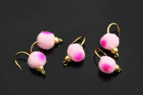 10 pcs Copper Beadhead Mini Egg Fly Glo Bug Fly Fishing Flies Lures Size 10#