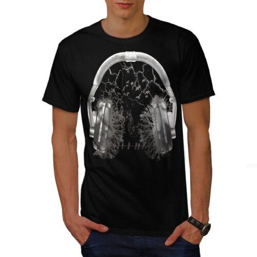 Wellcoda Headphone Forest Mens T-shirt Nature Graphic Design Printed Tee