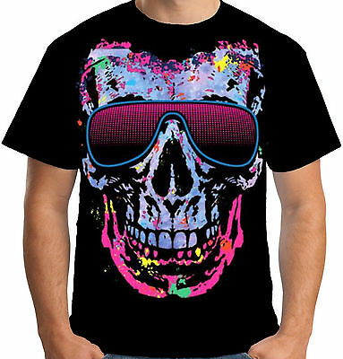 Velocitee Mens Cool Shady Skull T Shirt Psychedelic Rave DJ Festival A15033