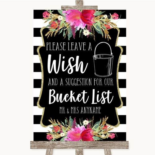 Black /& White Stripes Pink Bucket List Personalised Wedding Sign