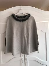 N PEAL LONDON Rex Rabbit Fur Grey Cashmere Poncho ONE SIZE RP£379 Olivia Palermo