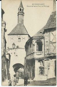 CPA-71-BOURBON-LANCY-Maison-de-bois-et-Tour-de-l-039-Horloge