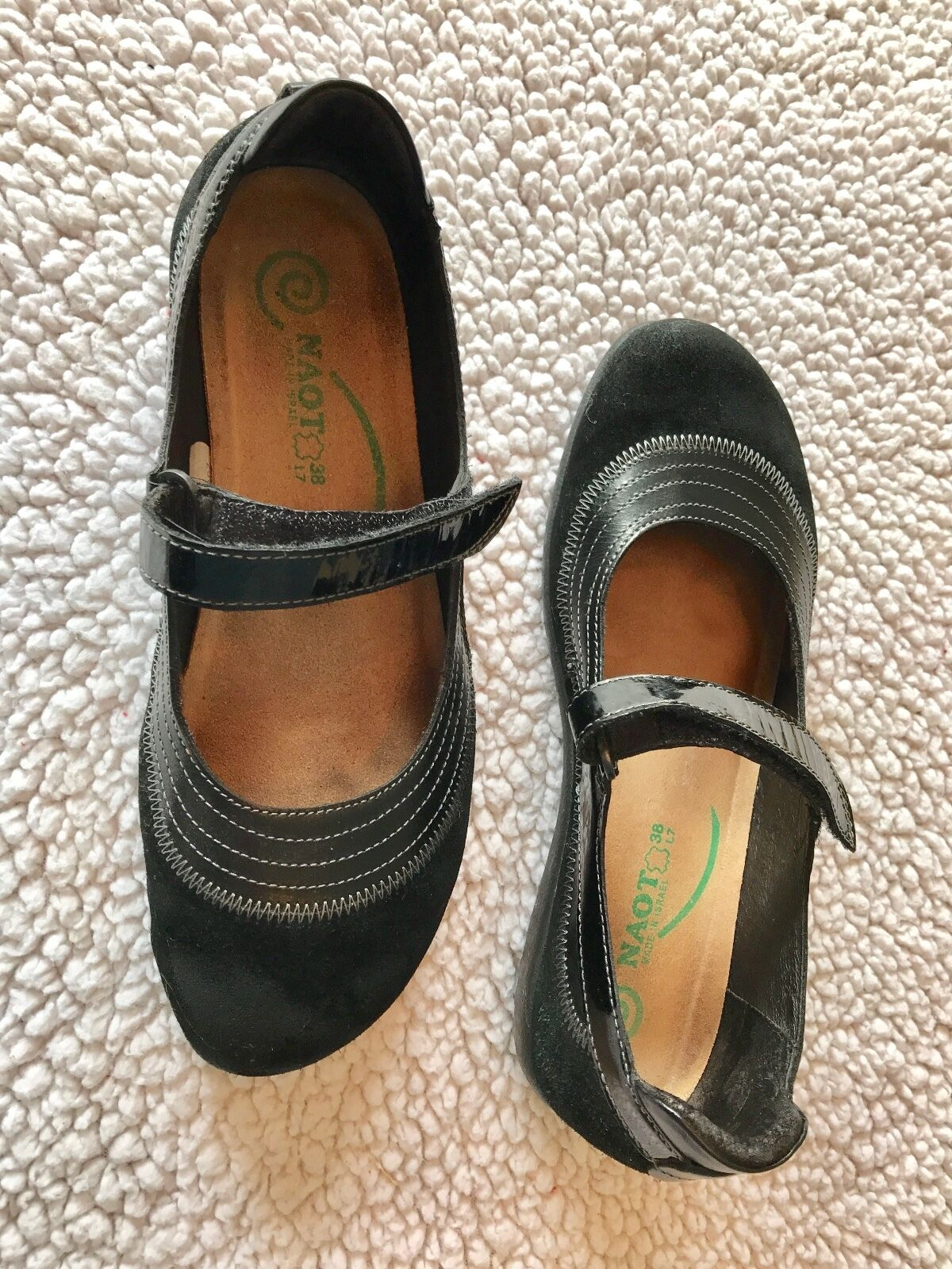 schwarz schuhe, suede, Naots, MaryJane, 7/38, pre-owned, very good condition