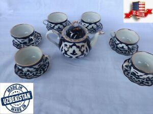 Uzbek traditional PAHTAGUL Teapot or tea Set Made in Uzbekistan