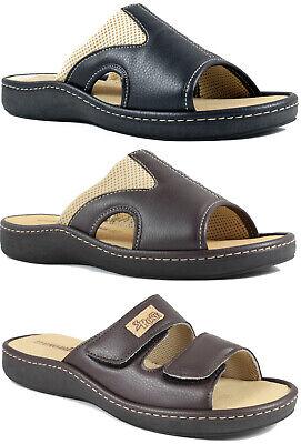 Ciabatte uomo aperte plantare estraibile pantofole estate vera pelle comode | eBay