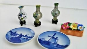 6-Small-Vintage-Souvenirs-Cloisonne-Jar-Stained-glass-Denmark-plates-3-034-Flowers