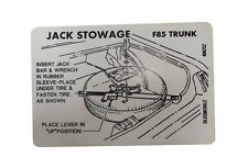 1969 1970 1971 1972 Oldsmobile Cutlass / F-85 / 442 Tire Stowage Inst. Decal