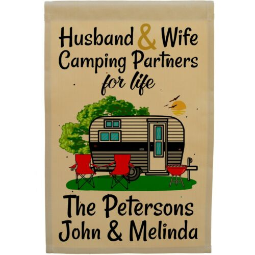 Personalized Husband /& Wife Camping Partners for Life Camper Flag