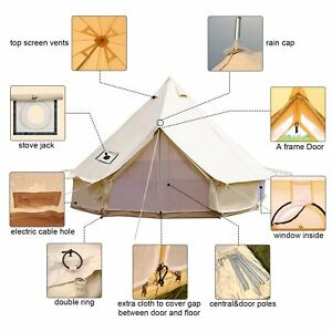 pretty nice e7fa0 4f509 Details about 5 Meter Bell Tent Canvas Teepee/Tipi Waterproof Outdoor  Glamping With Stove Jack
