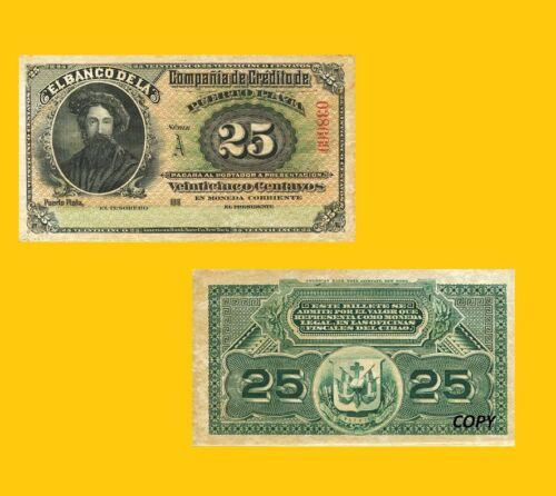 UNC Reproductions Dominican Republic 25 centavos 1888