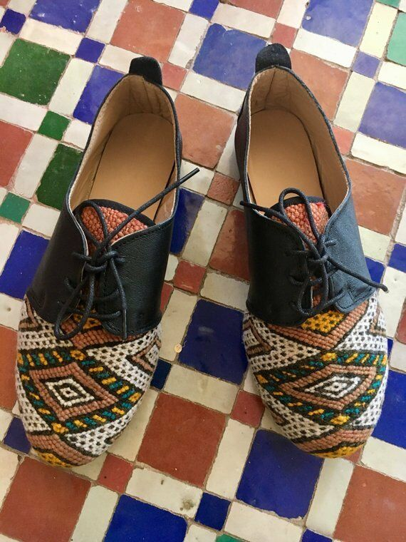 Handmade Mgoldccan Kilim Black Leather Oxfords Lace Up shoes Women Women Women EU 39 US 8 8.5 23db84