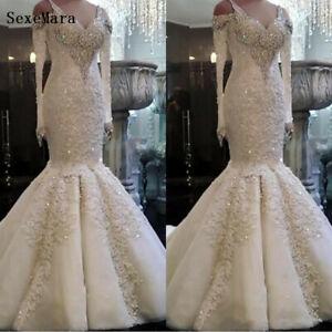 Luxury Crystal High Neck Wedding Dress Lace Appliques Mermaid Bridal Gown Custom