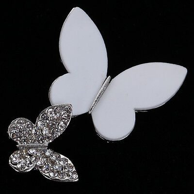 Charms Silver Plated Crystal White Butterfly Shape Brooch Pin Party Women Gift