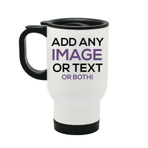 Personalised Thermal Travel Mug Cup Flask - Image Text ...