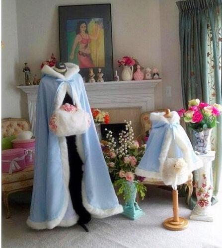 NEW Bridal Winter Wedding Cloak Cape Hooded with Fur Trim Long Bridal Winter