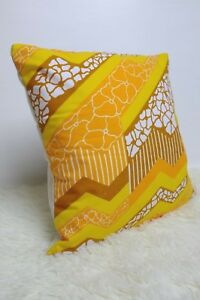 Super-Retro-Fabric-Cushion-Cover-80s-16x16-034-Yellow-Brown