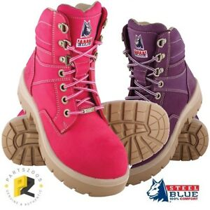 Steel-Blue-Southern-Cross-Ladies-Pink-Purple-Safety-Toe-Cap-Work-Boots-522760