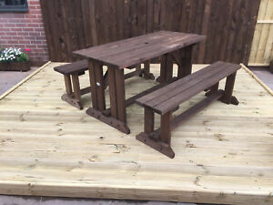 PICNIC TABLE SET WITH BENCHES FT FT FT FT IN BROWN STAIN WALK - Walk in picnic table
