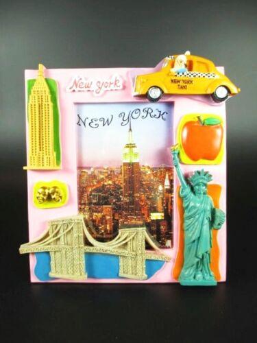 New York Bilderrahmen Freiheitsstatue,Empire,Taxi,Brooklyn Bridge,17 cm