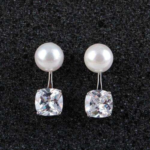 18K Blanc Or Plaqué Oreille Veste avant et arrière Big Pearl Square zircon Boucles d/'oreilles