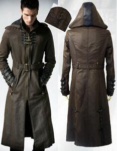 steampunk kapuze mantel gothic leder gurtband schn rung. Black Bedroom Furniture Sets. Home Design Ideas