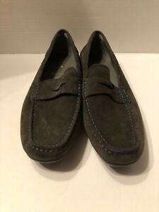 online retailer d9d95 abcb5 Details about geox respira shoes women New Brown Suede Loafer Size 40 9.5  Blue Stitching