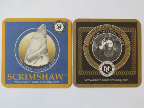 Beer Brewery Coaster ~ NORTH COAST Brewing Scrimshaw Pilsner Old Rasputin Stout