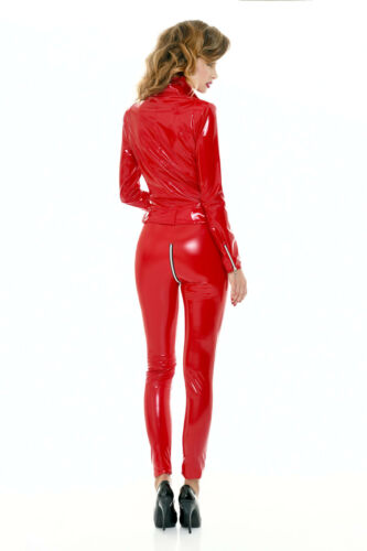 PATRICE CATANZARO Lack Leggings Mit Zip Rot PVC Vinyl Leggin Schritt-RV Hauteng