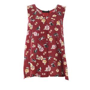 WEEKEND-MAX-MARA-Vest-Top-Red-Cat-Flower-Pattern-Silk-RRP-89-BG