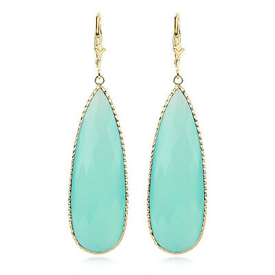 14K Yellow Gold Dangle Earrings With Large Pear Shaped Aqua Chalcedony