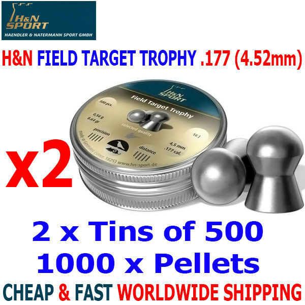H&N FIELD TARGET TROPHY .177 4.52mm Airgun Pellets 2(tins)x500pcs