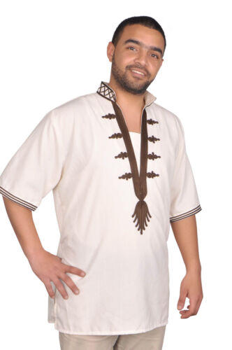 KAM00646 Moderne Herren Tunika mit Bordüren Orientalische Tunika in beige-braun