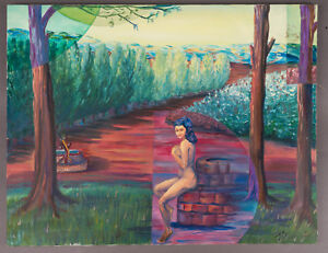 Ina-Anderson-1942-2017-Outsider-Art-Oil-Painting-Wood-Nymph-28x22