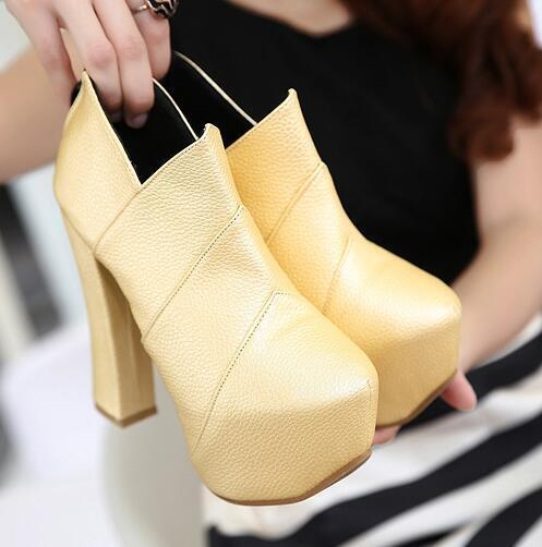 Women's Platfrom Ankle Boots Round Toe Chunky Zipper Super High Heel Party shoes