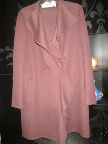40 Valentino Editorial Size Wool Runway It Fr 44 Ruffle Rare Coat Auth Purple 8xtzzU