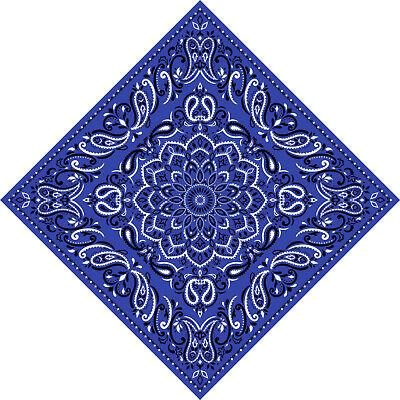 xl Royal Blue Extra Large 100/% Cotton Bandana Scarf Black White Paisley Classic