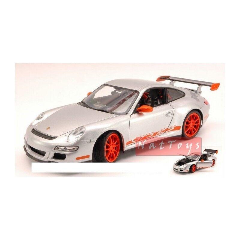 Welly we8015s Porsche 911 gt3 RS 2007 Grey with orange Strips 1 18 Die Cast