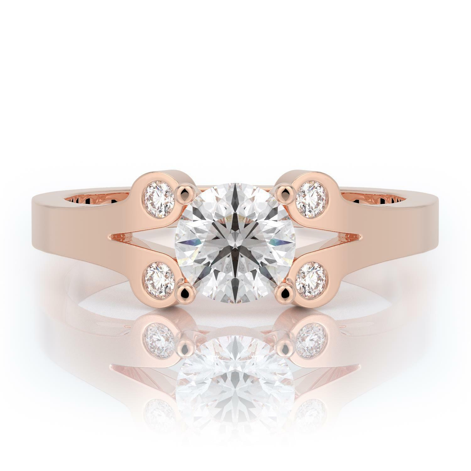 0.85 ctw G SI2 Certified Diamond Engagement Ring Round Cut 14k pink gold