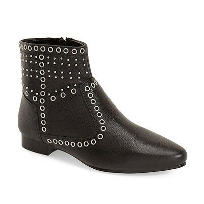 French Connection Black Leather Charlene Studded Metal Eyelet Bootie 7M New