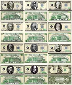 Variety Set Of 120 Poker Play Money Dollar Bills Casino Fun Money