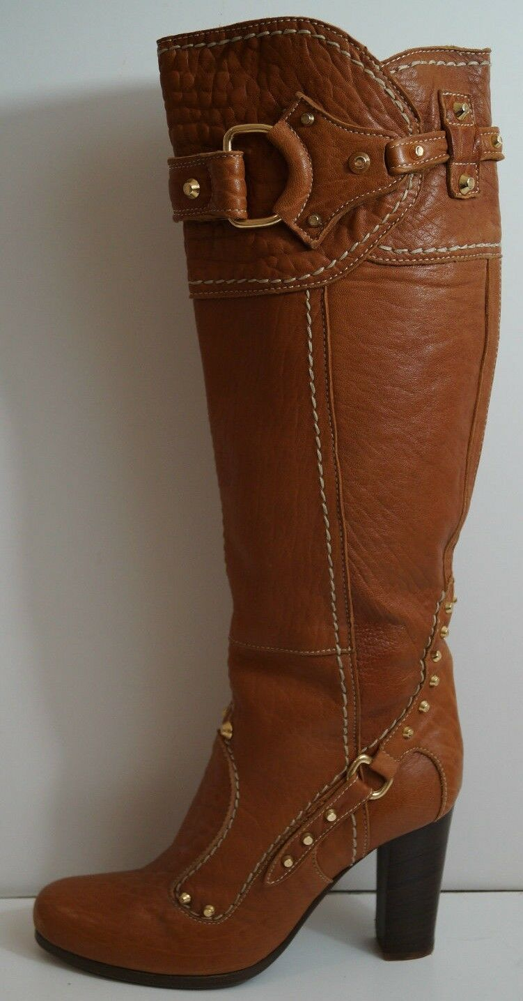PAN TULIPANI Made In  Tan Leather gold Stud Tall Length Boots EU41; UK8