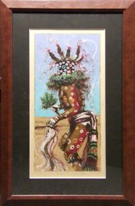 Larry-Fodor-034-Speckled-Corn-Kachina-I-034-Hand-Signed-custom-frame-Make-an-Offer