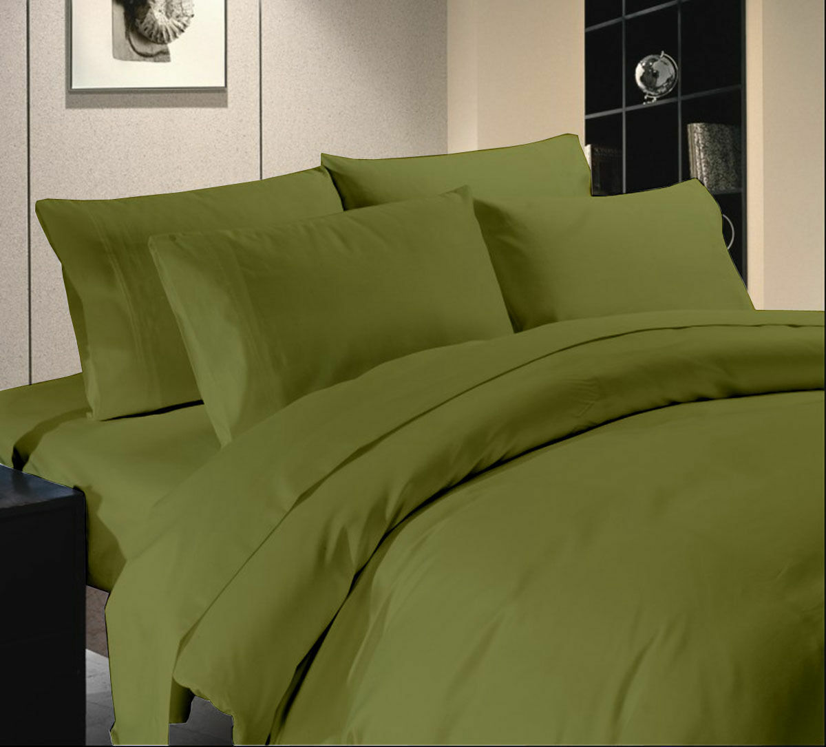 Olive Solid Extra Deep Pkt Sheet set 1000TC Egyptian Cotton