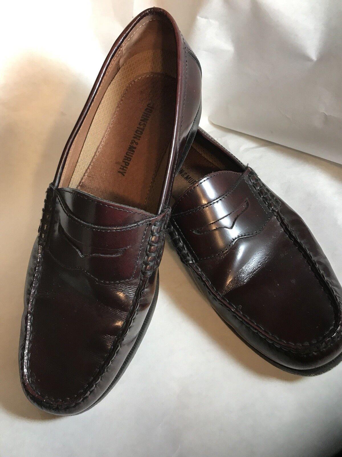 206283 WT50 Men's  9 M Burgundy Leather Slip On Johnston & Murphy