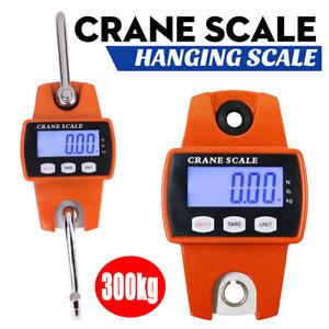 Mini Digital LCD Backlit Crane Scale Industrial Hook Hanging Weight 300KG/660LBS