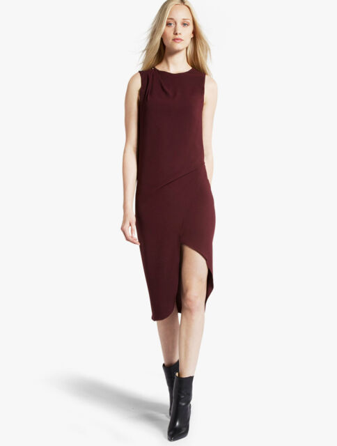 HALSTON HERITAGE Asymmetric Crepe Dress Syrah