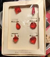 Pottery Barn Diamond Red Wine Charms - Set Of 6
