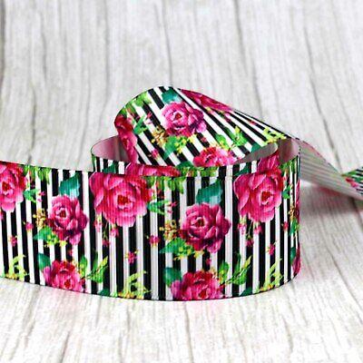 "2//5 Yards 1.5/""//38mm Flower Printed Grosgrain Ribbon-hair bow craft supplies-DIY"