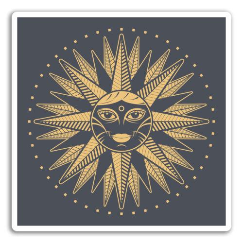 2 x 10 cm Zodiac Gold Sun Vinyl Stickers-Autocollant Voiture Bagage Voyage Cadeau #19234
